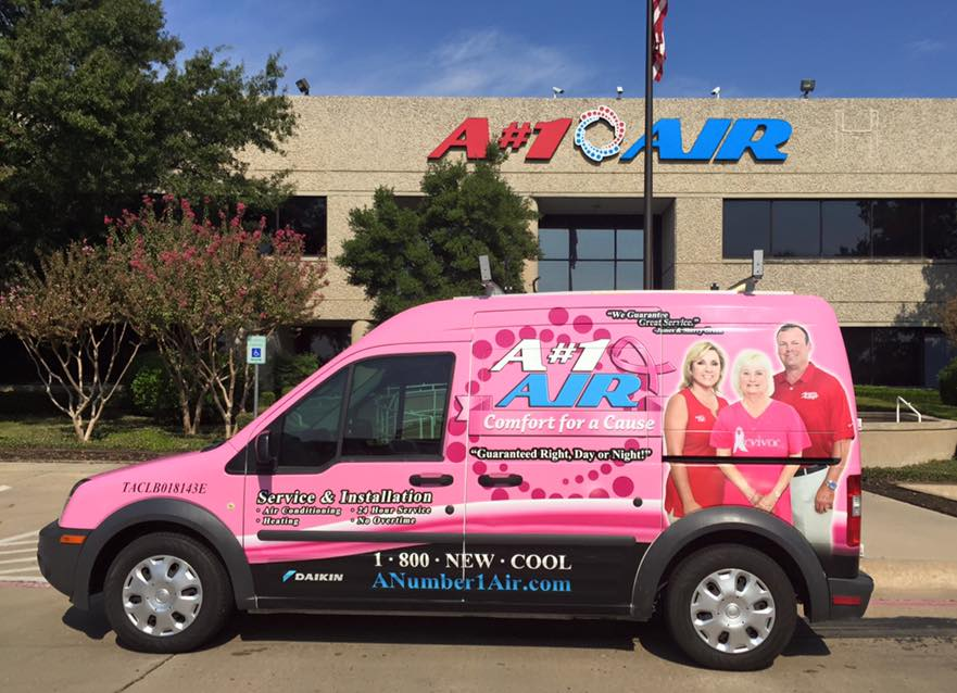 Pink Truck parkes at A#1 Air's Home Office